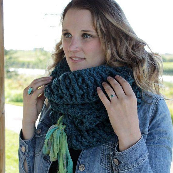 Bulky Crocheted Cowl with Fair Trade Sari by LovinEachStitchHookd #fairtrade #bulkycowl