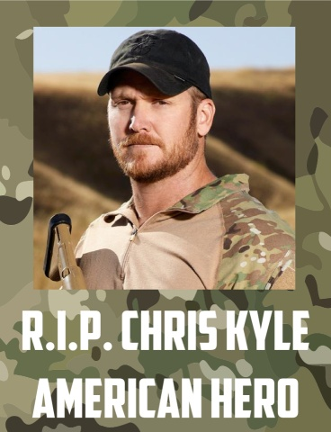 "Navy Seal CPO Chris Kyle ""The Devil of Ramadi."" The most prolific sniper is United States history with 4 tours of duty. Survived being shot twice. Survived 6 separate IED explosions. 2 Silver Stars + 5 Bronze Stars with Valor + 2 Navy and Marine Achievement Medals + 1 Navy and Marine Corp Commendation. Leaves behind a wife and 2 children. A hero. Not a celebrity. Not a pop culture icon. But a real life hero. May you rest in peace..."