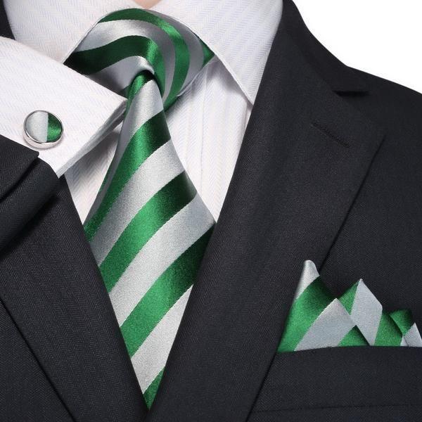 6d3608b01f0d Green and Gray Striped Necktie Set JPM18A97 | Men's Fashion Necktie Sets |  Pinterest | Tie, Tie set and Silk ties