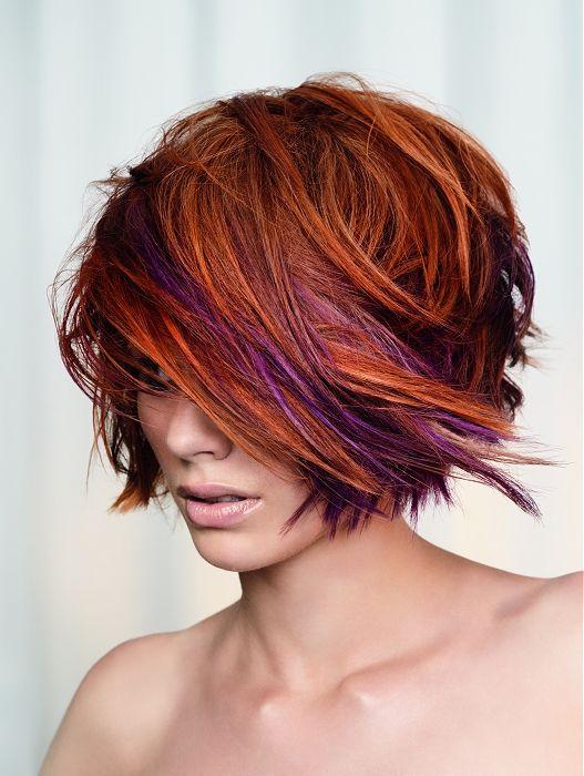 love the cut and color, don't even mind the purplePurple Streaks, Hair Colors, Layered Bobs, Hair Cut, Purple Highlights, Choppy Bobs, Hair Style, Fall Hair, Shorts Cut