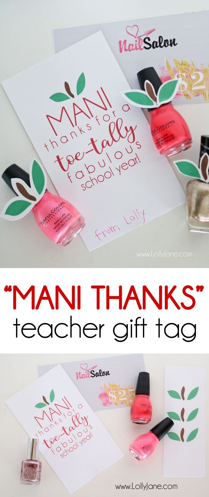 """Mani thanks"" teacher gift tag 