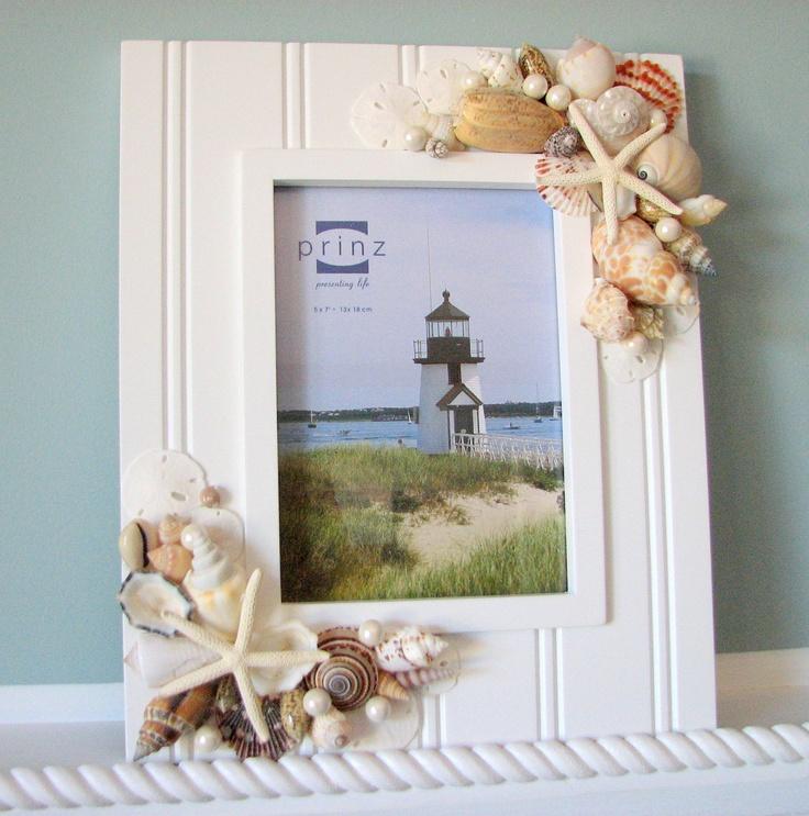 Seashell Frame Beach Decor - Nautical Decor Shell Frame w Starfish, 8x10. $40.00, via Etsy.