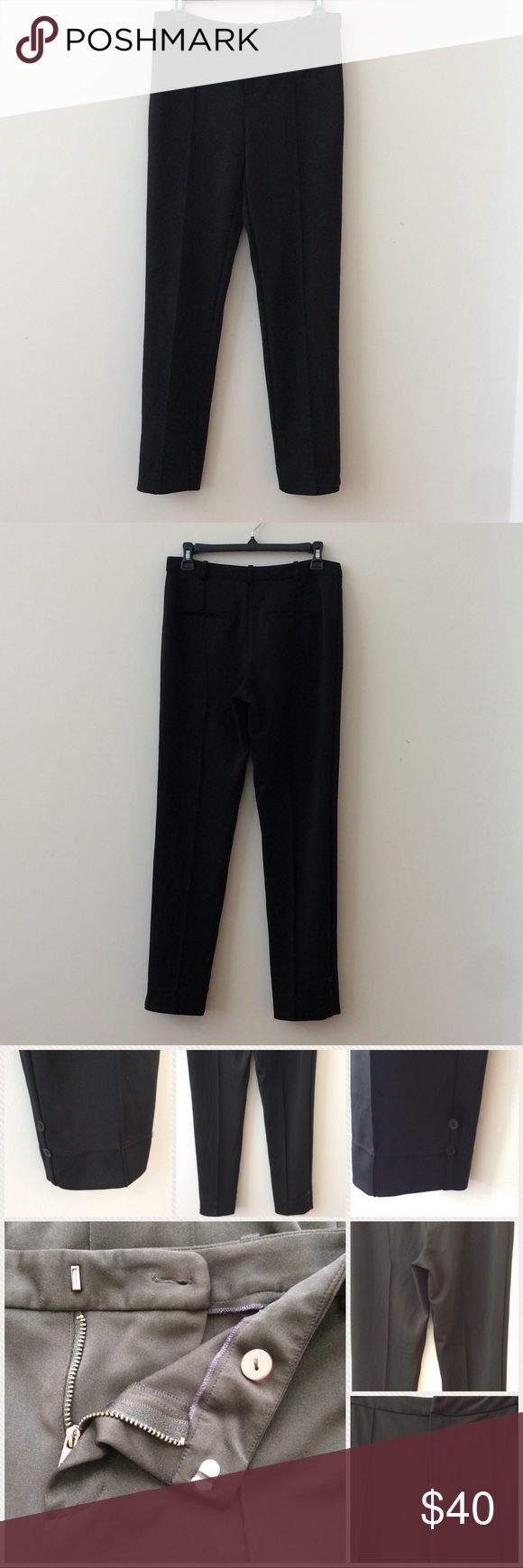 """NEW LISTING Rachel Roy Black Pants Size 6 Rachel Roy black pants size 6. Button, hook & zipper closure. Has 5 loops if you want to wear w/a belt. 2 faux back pockets. 2 accent black buttons on both sides of each pant leg.    89% Polyester & 11% Spandex.   Approximate measurements:   Waist = 28""""  Hip = 34"""" Outseam = 37.5"""" Inseam = 28"""" Front Rise = 10.5""""  Back Rise = 12""""  Leg Opening = 12""""   Great condition. Open to offers! Thanks. RACHEL Rachel Roy Pants"""