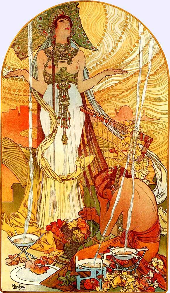 Mucha, vienna secession, vintage illustration, desert, art nouveau, fin de siecle, turn of the century, arts and crafts movement, nature, illustration