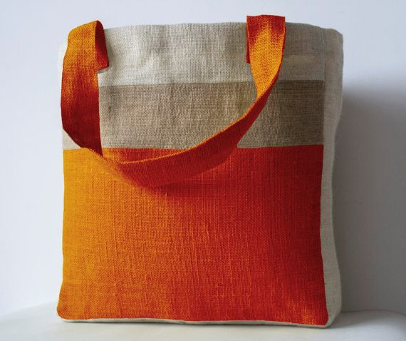 Monogram Orange Burlap Market Tote Custom Burlap by AmoreBeaute