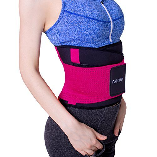 a0f888ced476e DARCHEN Fitness Waist Trainer Belt Back Support Brace for Men and Women  Thermal Waist Trimmer Slimming Body Shaper Belt (Rose Red