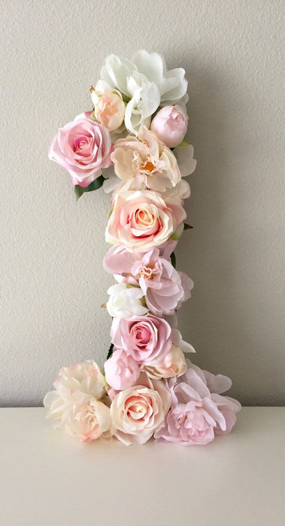 First Birthday Decor Birthday Party Number Flower by BegoniaRoseCo