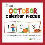 October Calendar Numbers and Header – Free Printable