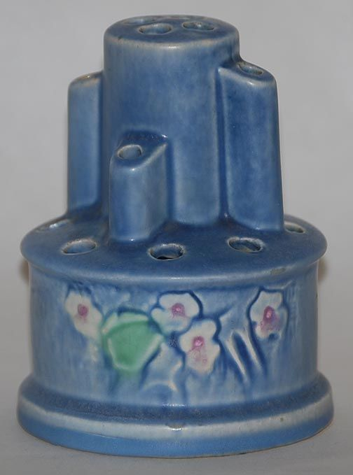 Roseville Pottery Clemana Blue Flower Frog - I collect Roseville, love this