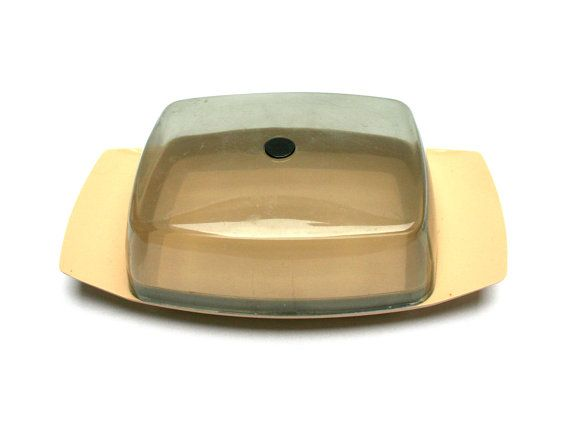Scandinavian ROSTI Danish butter dish, Beige and clear grey plastic, Designed by Bjorn Christensen, Dining table, Vintage 1960s