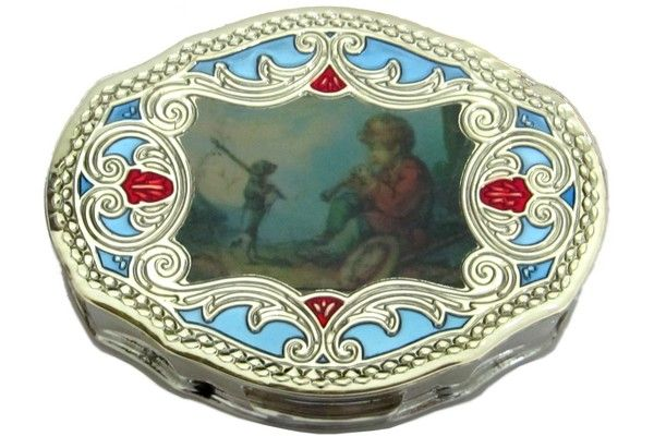 Silver pill-box, titled 800/1000, hand enameled with blue background and miniated with pastoral scene,  size 5,7x4,2 cm.