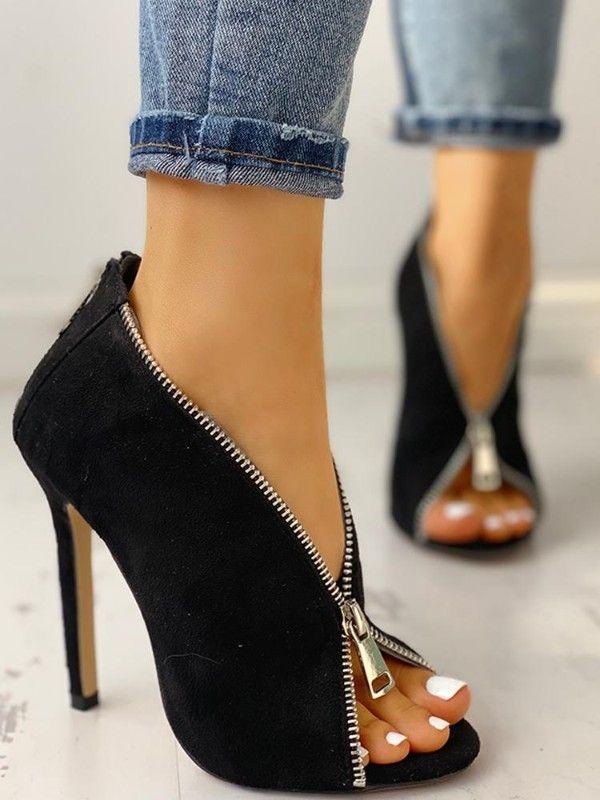 6479b10b7a1 Suede Zipper Design Peep Toe Heeled Boots