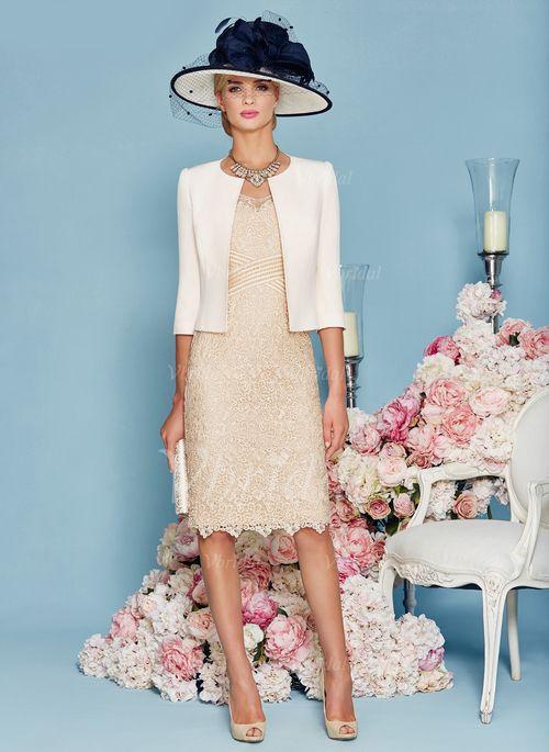 Mother of the Bride Dresses - $122.00 - Forme Fourreau Col V Au niveau du genou dentelle Robe de mère de la mariée avec Perles brodées (0085095824)