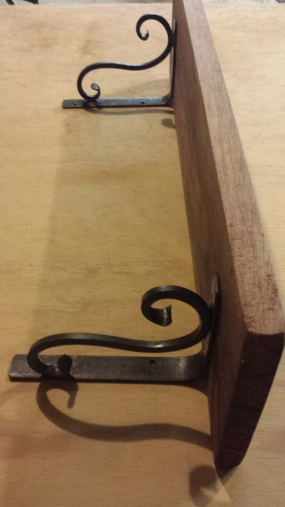 Shelf walnut Blacksmith made scroll brackets 27 by PossumfatForge, $95.00