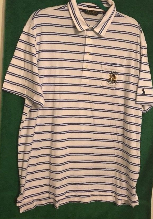 Polo Golf Ralph Lauren Men US OPEN Golf Pullover Shirt White Stripe Cotton Sz XL #PoloRalphLauren #PoloRugby