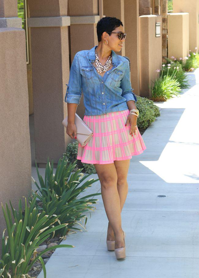 NEON STRIPED SKIRT & DENIM SHIRT - Mimi G Style