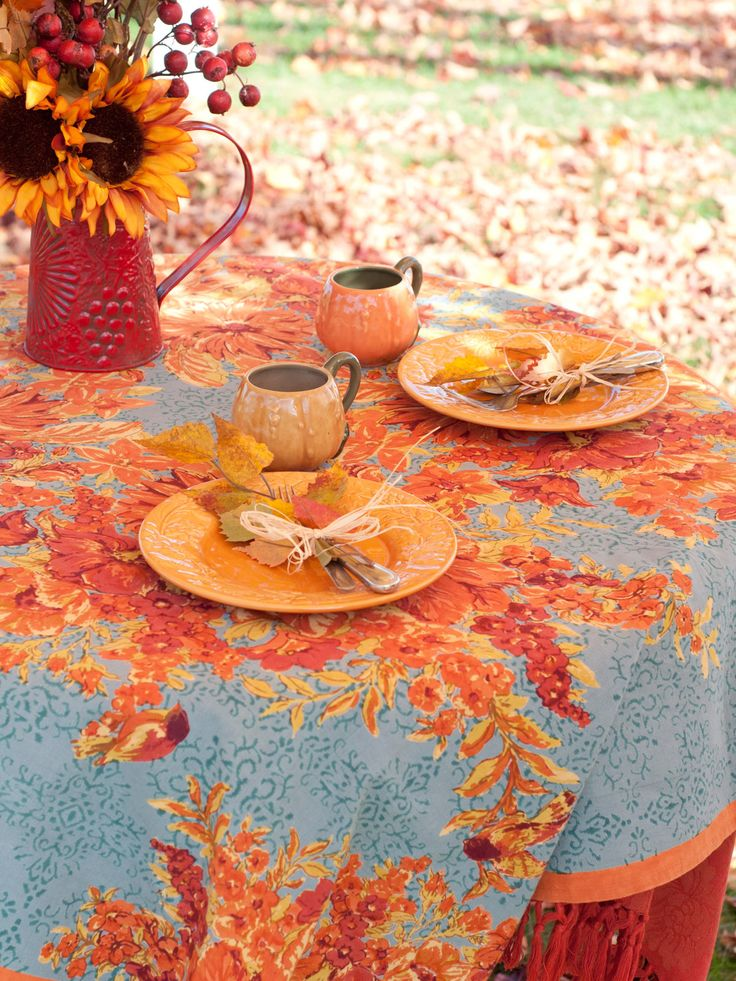 In Full Bloom Tablecloth | Shop by Size, Table Linens & Kitchen, Round Table 88in :Beautiful Designs by April Cornell