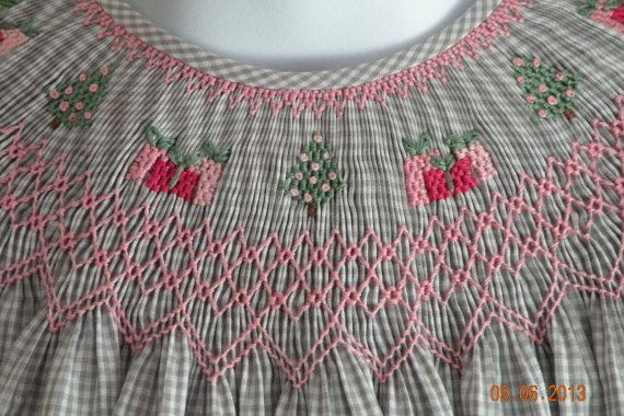 Pink and Gray.  Hand Smocked Christmas Dress by TheSmockingGarden