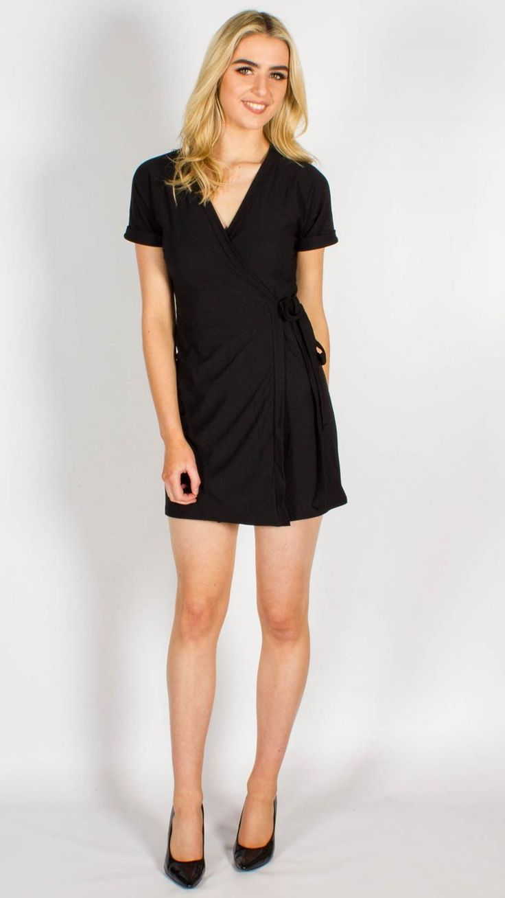 Black Crepe Belted Wrap Dress