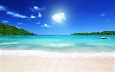 Scarica sfondi Spiaggia, mare, isola tropicale, palme, estivo, estate vacanza