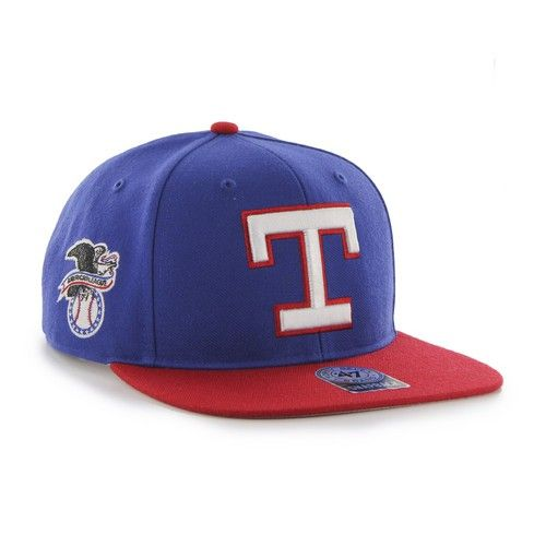 Texas Rangers '47 Brand Sure Shot Captain Snapback. This Flat Brim Snapback hat is made from a 85/15 wool blend. The two-tone snapback cap features a raised embroidered front Rangers logo with an embr
