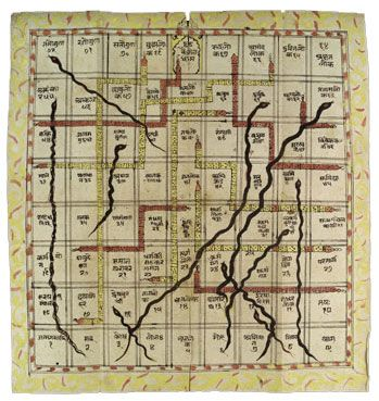 Sometime around the 1200s AD (or possibly earlier), people in India also began playing a game they called Snakes and Ladders (we know it as Chutes and Ladders). This was a Hindu game. Each space was called a house, and each house represented a kind of emotion. You threw dice to see how far you should go, and used a cowrie shell for your piece. The ladders stood for good feelings, while the snakes stood for bad feelings that took you farther away from Nirvana.