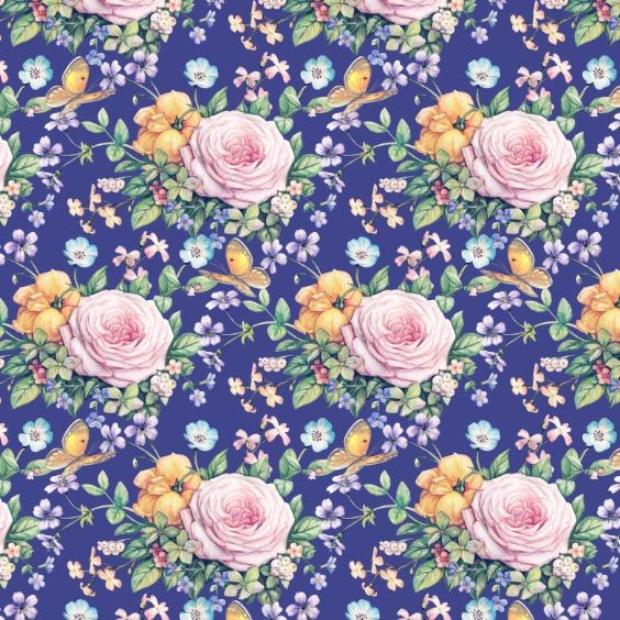 Seamless composition with yellow roses and butterflies on blue background by Maria Rytova #pattern #textile #background #backing #paper #work #纹样 #damask #арт #картинки #picture #decoupage #декупаж #дамаск #узоры #barok #baroque #wallpaper #design #卷草 #flower #图案 #фон #print #принт #printable #papel #ornament #seamless #golden #luxury #surface #rose #floral #decorative #decor #vintage #tile #бордюр #border