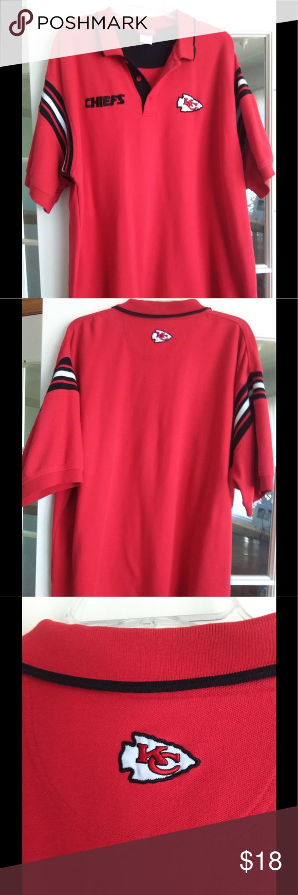 NFL Chiefs 2XL red polo shirt Lots of wear left in this great Chiefs shirt!  Measures 29 inches across and 31 inches from base of collar to bottom of hem.  Knit poly/cotton blend with embroidered team name on front and appliquéd arrowhead on front and back.  Pet-free, smoke-free home. NFL Shirts Polos