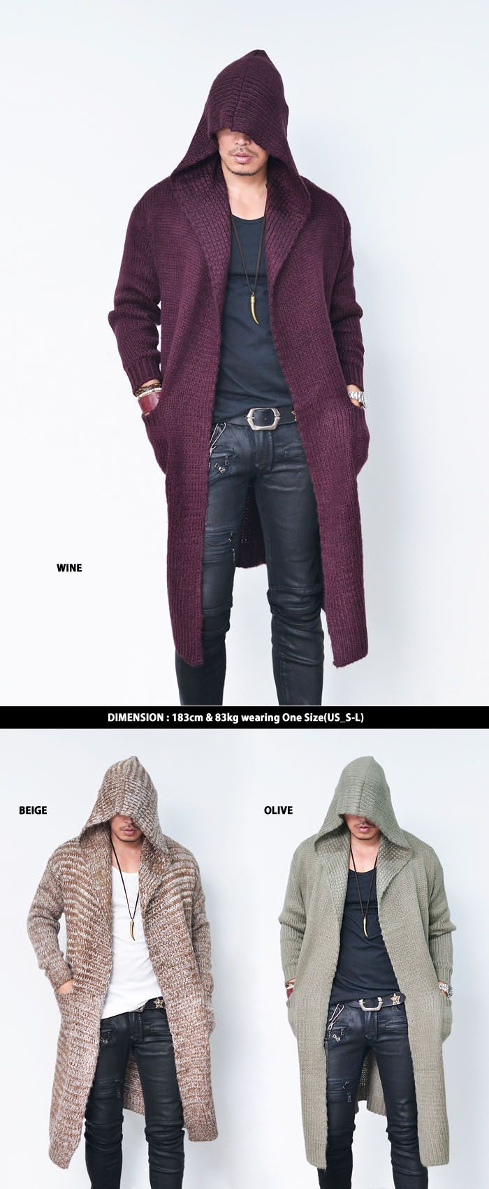 Big Hood Wool Cape Long Jacket-Cardigan 142 - Mens Fashion Clothing For An Attractive Guy Look