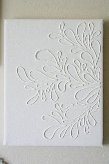 Zo simpel! Met wat lijm of kit op canvas tekenen en dan de boel 1 kleur verven. Door vief79