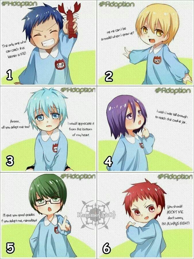Anime/manga: Kuroko No Basuke Characters: Aomine, Kise, Kuroko, Murasakibara, Midorima, and Akashi, which one(s) would you adopt?