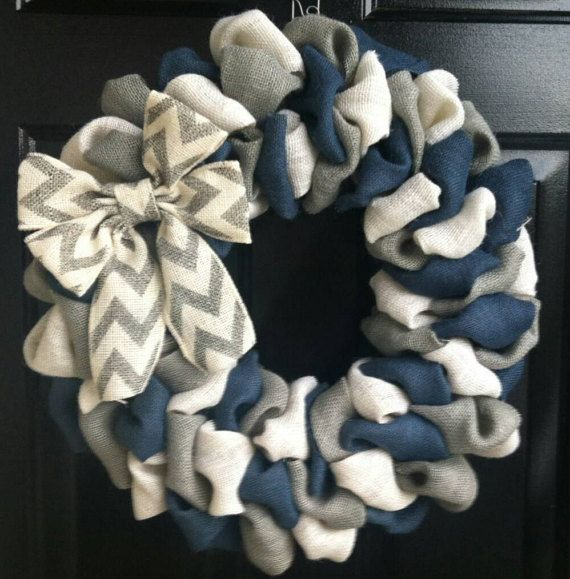 Everyday Wreath Front Door Wreath Navy Blue by AddieBeeDesigns