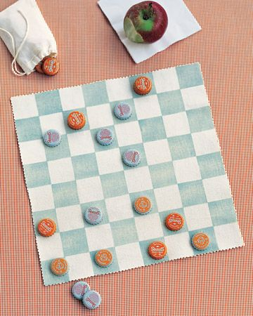 Canvas checkerboard! {have the kiddos paint the bottle caps for their pieces... already tape off the checker board design/have them paint it} -Idea for Chic Craft Corner Camp
