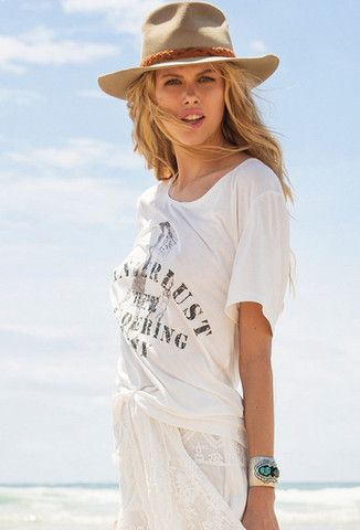 Wanderlust Slouchy Tee in Off White by Spell Designs | New at The Freedom State