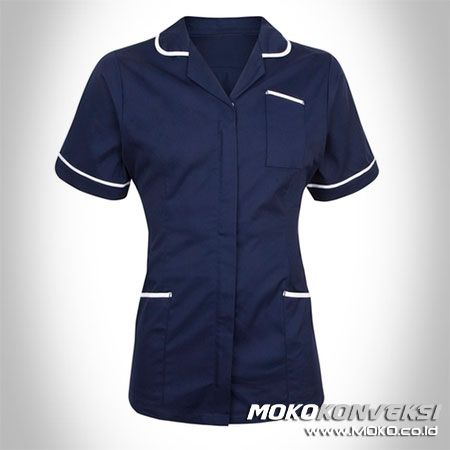 SERAGAM PERAWAT, MEDIS & PAKAIAN RUMAH SAKIT. Gambar Baju Kerja Seragam Perawat Warna Biru Navy.