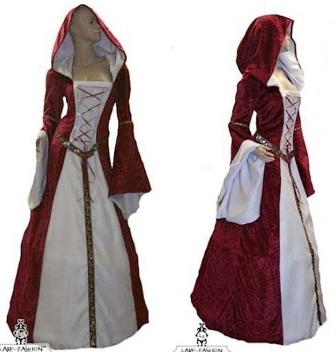 DESTOCKAGE Robe médiévale rouge et blanche n°922 Taille 3XL