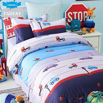 FADFAY Home Textile,Cute Cars Print Bed Cover Set,Brand 100% Cotton Kids Duvet Cover Set,Designer Cartoon Boys Bed Sets