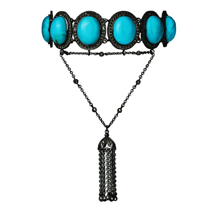 Bracelet 526/BLKG/BLCKDI | Turquoise / Black Diamond / Black Gold