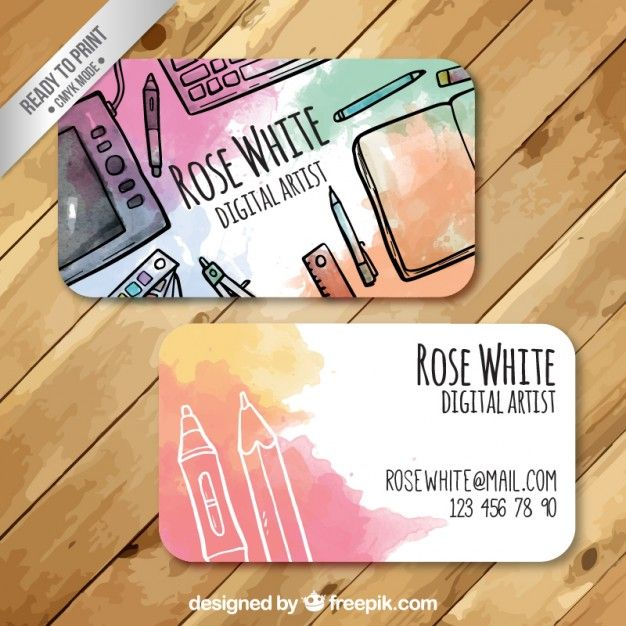 beautiful watercolor business card!                                                                                                                                                      Más