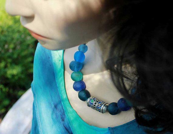 Collar africano azul grano marroquí esmaltado cuentas de
