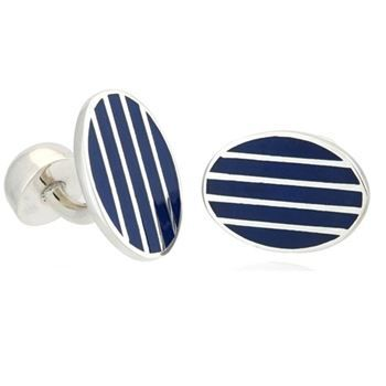Gemelo ovalado de plata y rayas azules