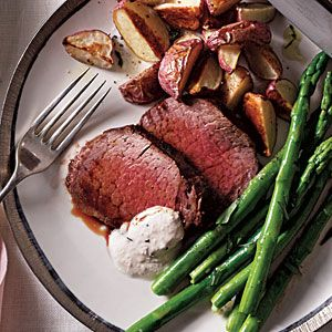 Beef Tenderloin with Horseradish-Chive Sauce   MyRecipes.com #myplate #protein