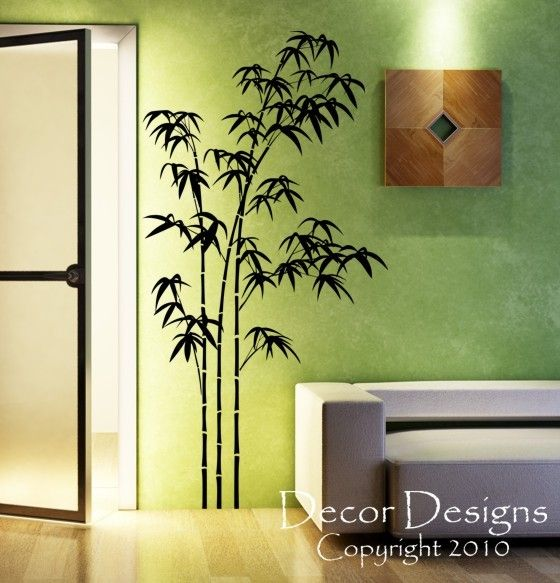 paint bathroom walls like this Etsy decal to match bamboo flooring and toeboard 1/4 rounds using Banksy stencil style.