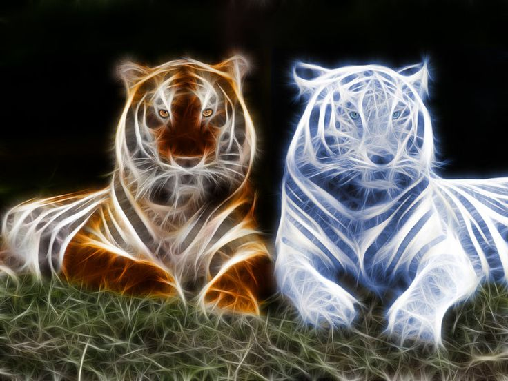 Fractal Fire and Ice Tigers | Electric Fractal Animals ...