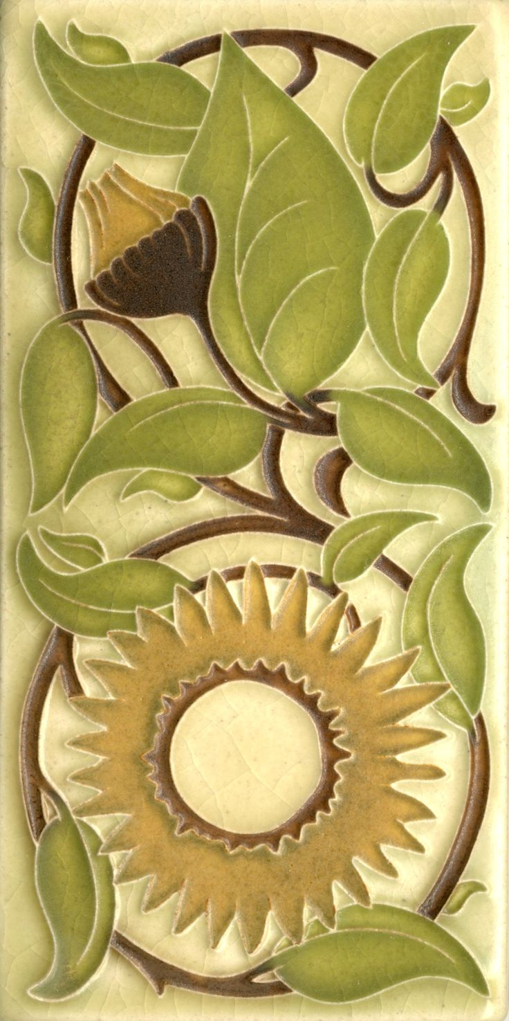 4x8 Sunflower in Olive by Motawi Tileworks
