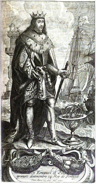 """El- Rei D. Manuel I """"O Venturoso"""", retrato. Dinastia: Avis Editorial: Real Lidador Portugal  Imagem: Jan Baptist Verdussen (1625-1689)  """"Vese retratado con corona en la cabeça, espada baxa desnuda, armado, y sobre las armas manto de brocado con bordadura de perlas, (*) si engendradas del Sol en playas remotissimas, halladas por el para ultimo adorno de todo el mundo: muriò de edad de cincuenta y dos anos y medio, con veinte y seis de Reyno…"""" Autor: Rui Miguel"""