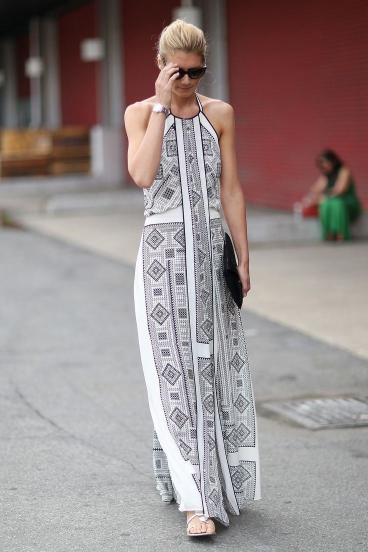 flats and patterned white maxi dress