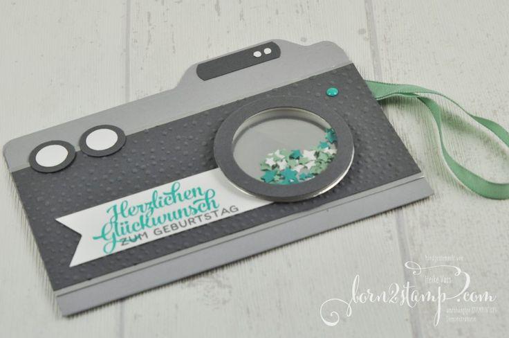 born2stamp STAMPIN' UP! Geburtstagskarte - Fotoapparat Grusselemente - Leise rieselt Schuettelfenster