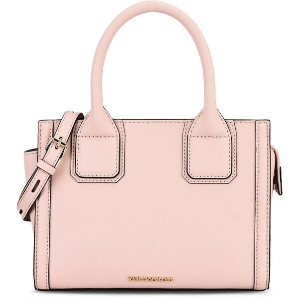 Karl Lagerfeld K/Klassik Mini Tote (330 AUD) ❤ liked on Polyvore featuring bags, handbags, tote bags, mini tote, pink leather handbags, pink tote bags, leather tote purse and zippered leather tote