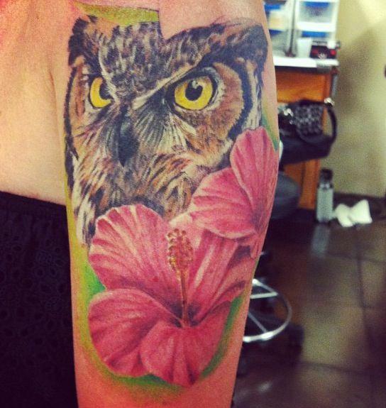 Owl & flower tattoo   Dream tattoo   Pinterest   Flower ...